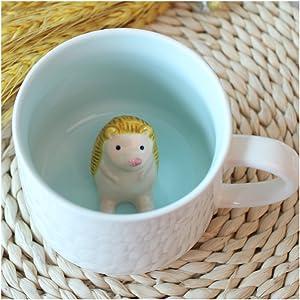 3D Cute Cartoon Miniature Animal Figurine Ceramics Coffee Cup - Baby Hedgehog Inside, Best Office Cup & Birthday Gift (Hedgehog)