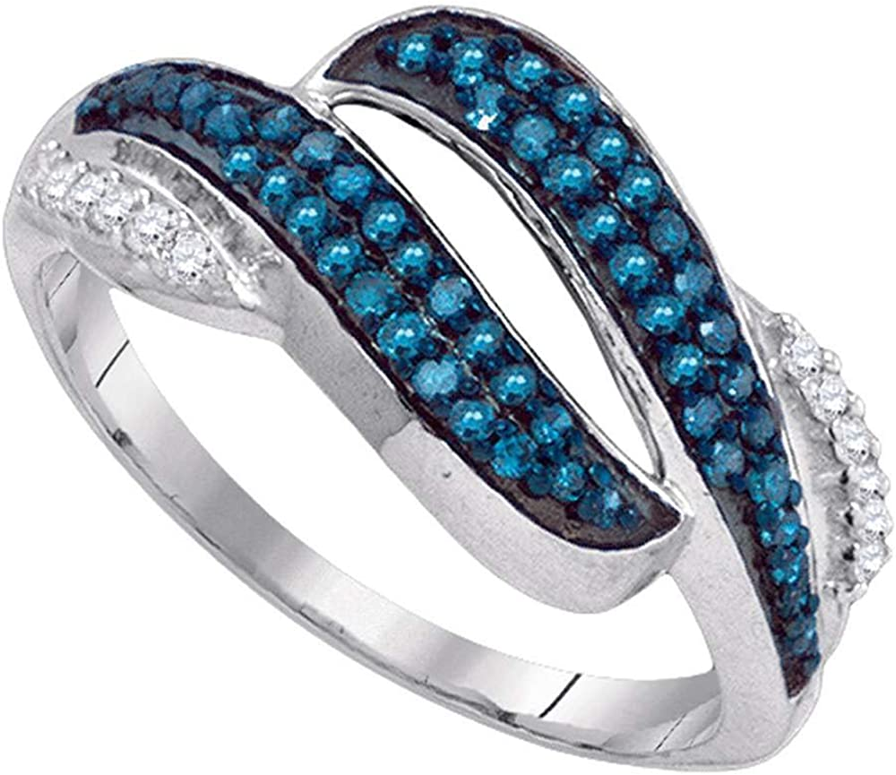Blue Diamond Bypass Double Row Band 1//3ct 10k White Gold