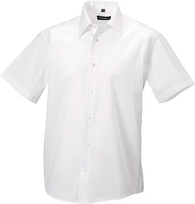 Russell Collection - Camisa de Manga Corta Entallada Diseño Tailored Ultimate Modelo Non-Iron Hombre Caballero - Trabajo/Boda/Fiesta