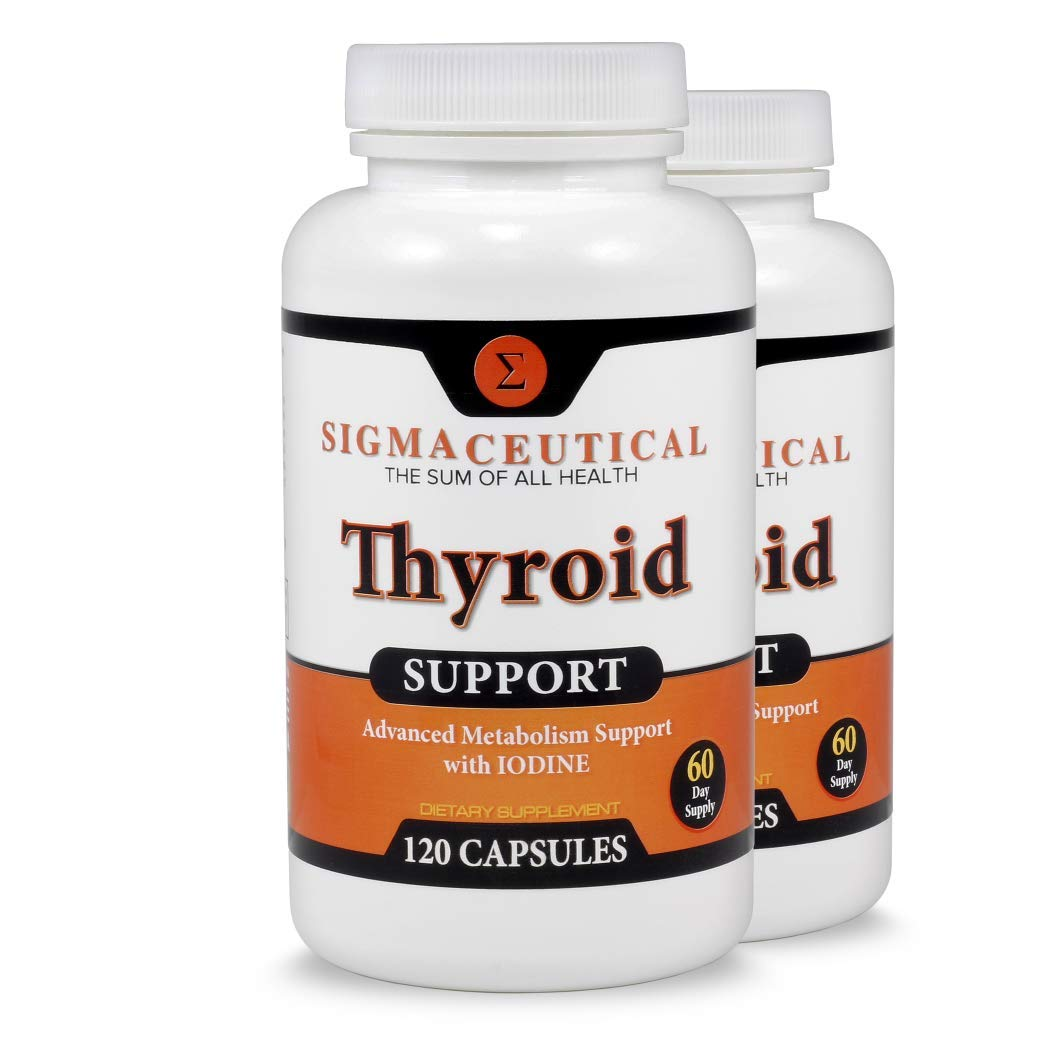 2 Pack of Thyroid Support Supplement - Iodine, Zinc & Selenium Supplement - Natural Weight Loss - 120 Capsules Each