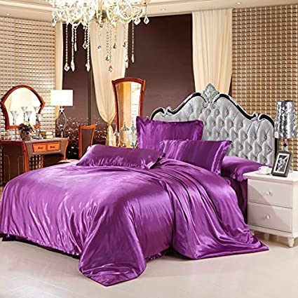 Luxury 4 Piece Satin/Sateen Silky Bed Sheet Set Bedding Collection,Summer  Duvet