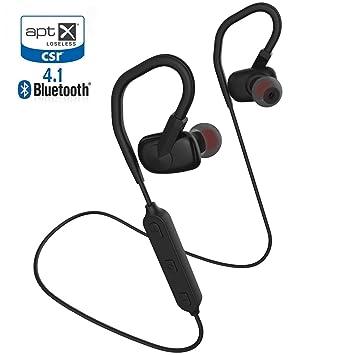 Auriculares Bluetooth 4.1, Acekool APTX Auriculares/Cascos Bluetooth stereo Con Micrófono y Control de Volumen para TV Sport Moto Running Negro: Amazon.es: ...