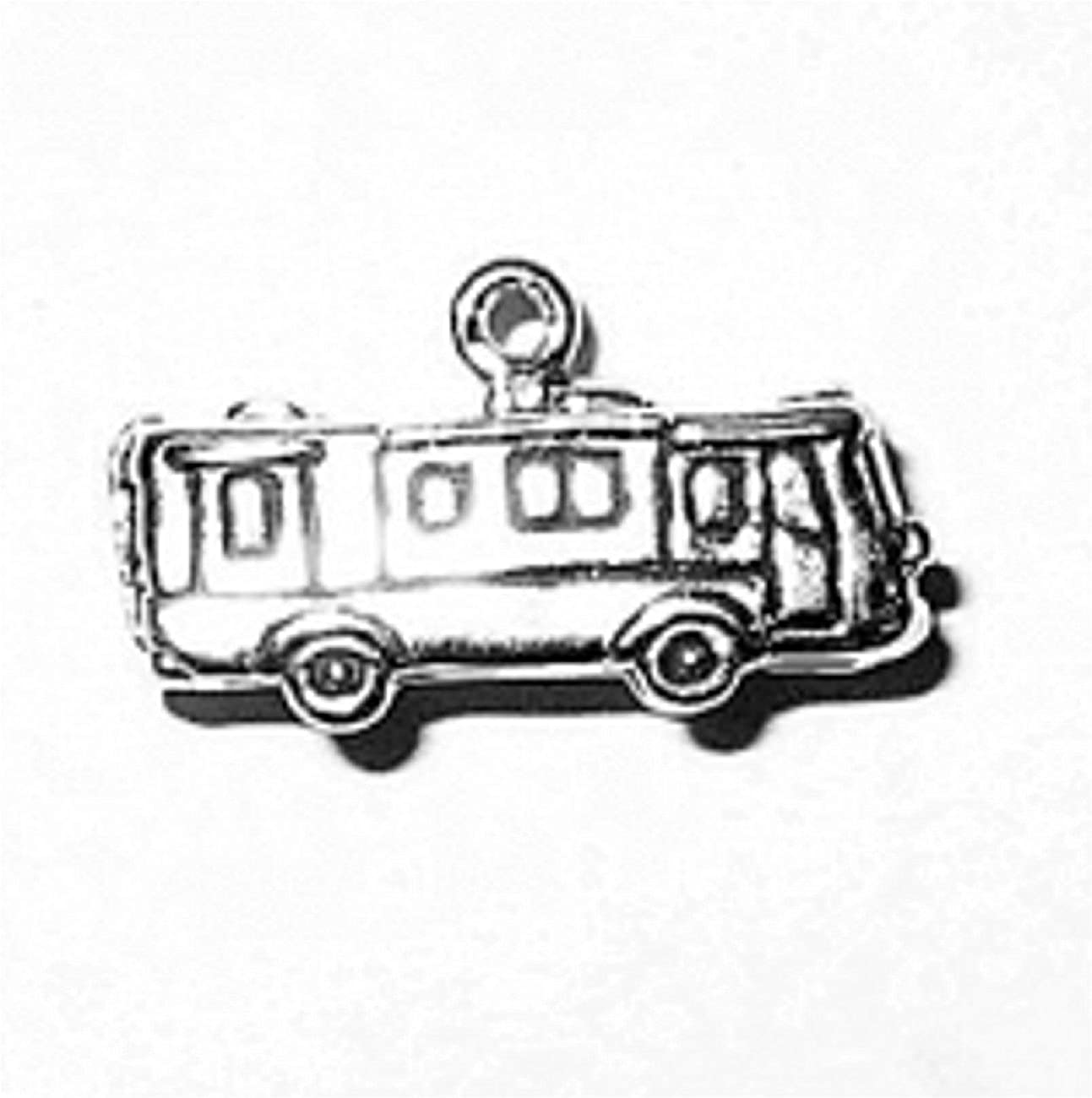 Sterling Silver Girls .8mm Box Chain 3D RV Mobile Motorhome Recreational Vehicle Pendant Necklace