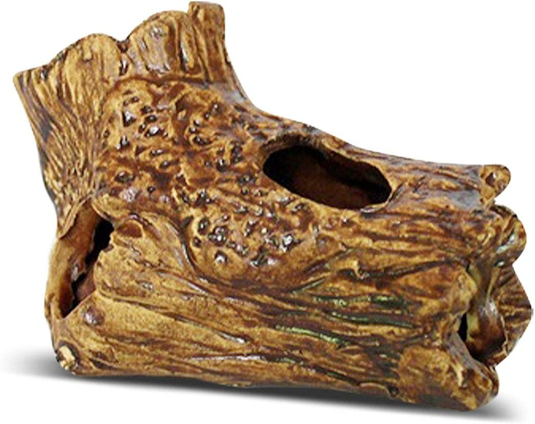 SunGrow Betta Fish Log, 4.9x3.3x2.8 Inches Ceramic Aquarium Decor, Realistic Wood Appearance, Hollow Log for Exploring, Hiding, Sleeping and Breeding, Great for Betta and Community Fish Tanks, 1 Piece