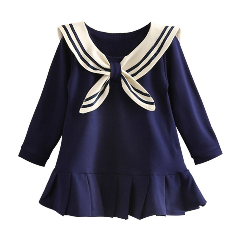 Mud Kingdom Pleated Sailor Dress Long Sleeve for Girl SQ0229
