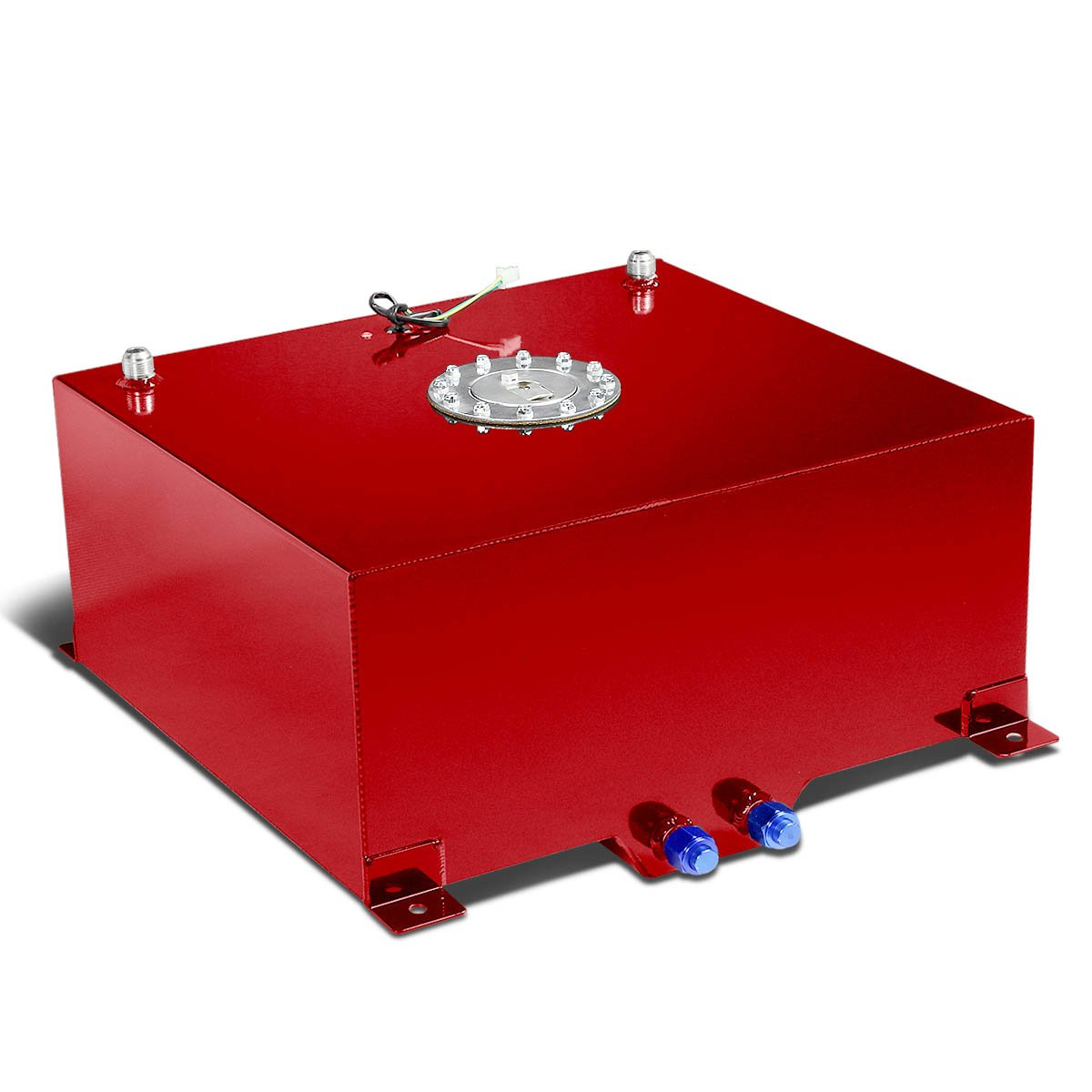 20-Gallon Aluminum Street/Drift/Strip/Racing Fuel Cell Red Gas Tank with Level Sender and Silver Cap