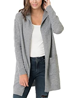 3a00f2d26f Imysty Womens Oversized Sweater Cardigans Open Front Hooded Knit Outwear  with Pockets