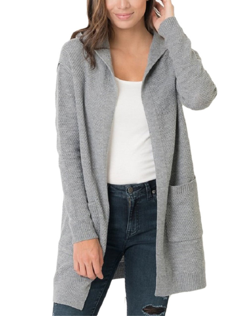 Imysty Womens Oversized Sweater Cardigans Open Front Hooded Knit Outwear with Pockets