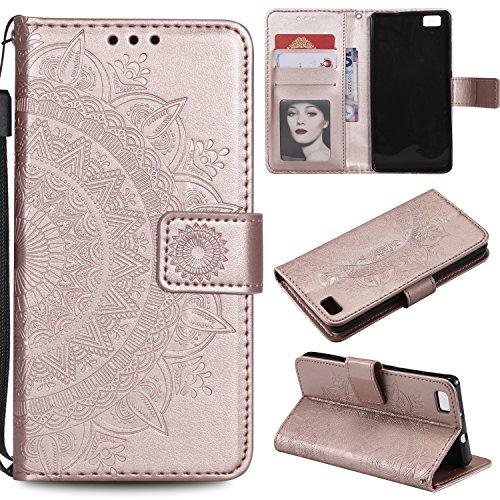 tarjetas rosa de para P8 marrón de oro con magnéticas correa piel Leeook tapa flor de oro de para Lite tótem color dorado ranuras muñeca en Funda y Huawei relieve sintética rosa diseño RqFwFxH5