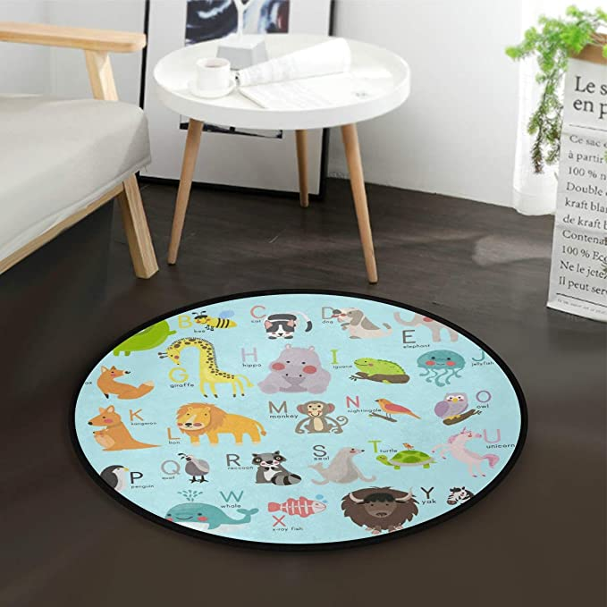 Unicoco Round Floor Rugs Polyester Cartoon Deer Indoor Area Carpet Anti Slip Doormat Living Room Floor Mat