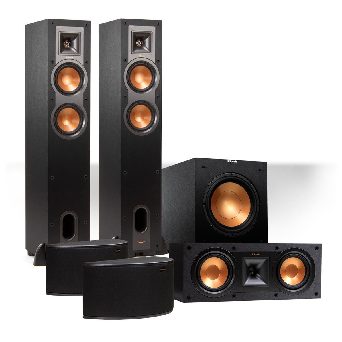 Klipsch Reference 5.1 Channel R-24F Surround Home Theater Speaker Bundle with 12'' Subwoofer (Black)