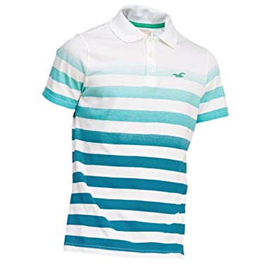 105319d0 Hollister Men's Striped Slim Fit Icon Polo Shirt Tee, Size L, Turquoise  (621579289