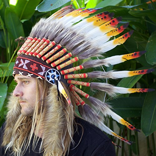 Feather Headdress- Native American Indian Inspired- Handmade by Artisan Halloween Costume for Men Women with Real Feathers - Multicolor (Chief Indian Princess Costume)
