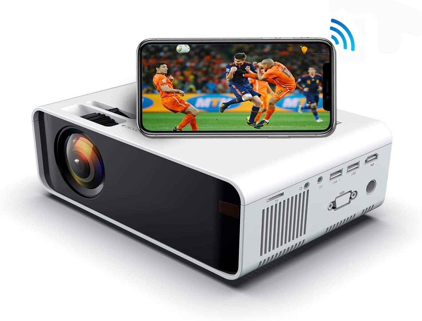 SOTEFE Mini LED Projector Portable 4000 Lumens-WiFi Video Projectors 1080P Full HD for iPhone Samsung Smartphone Wireless Projector HDMI 55000 Hours Multimedia 4K Home Projector Office Theater Movie