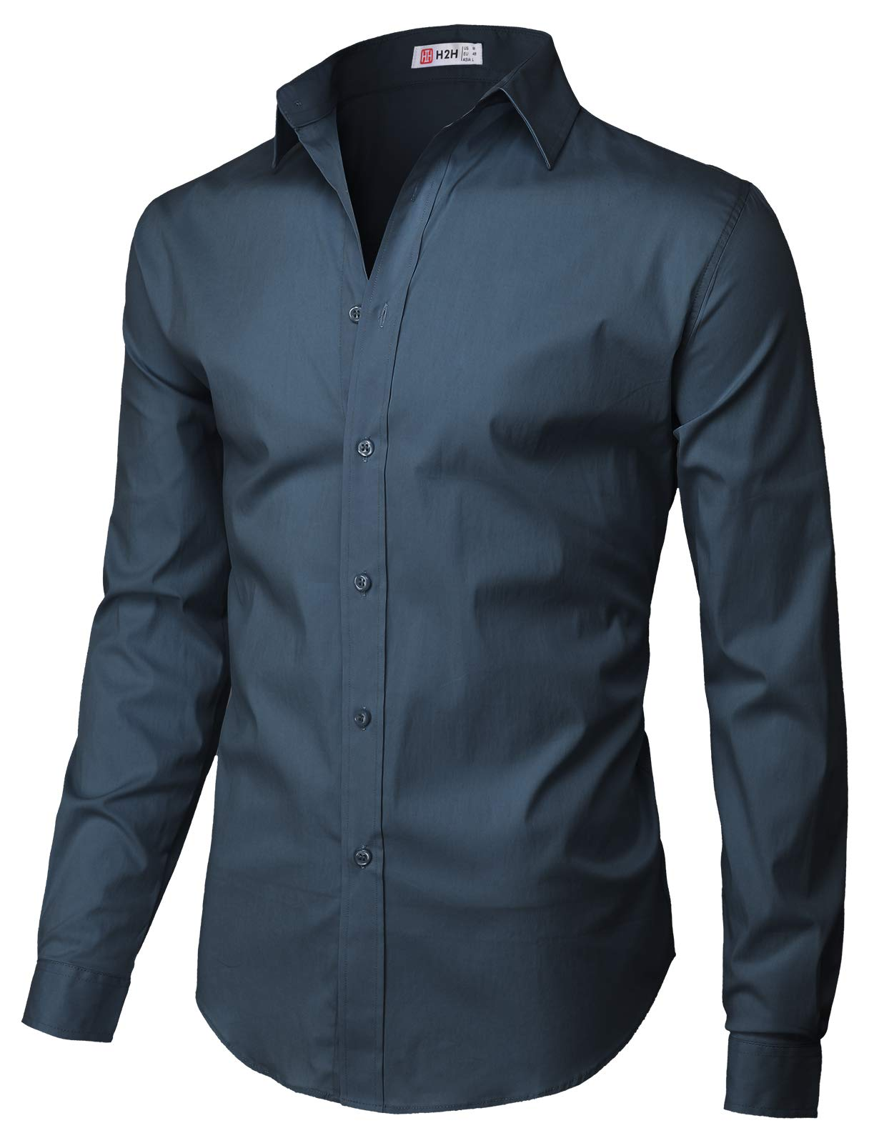 H2H Mens Casual Slim Fit Button Down Spandex Premium Long Sleeve Shirts Navy US 2XL/Asia 3XL (CMTSTL0134)