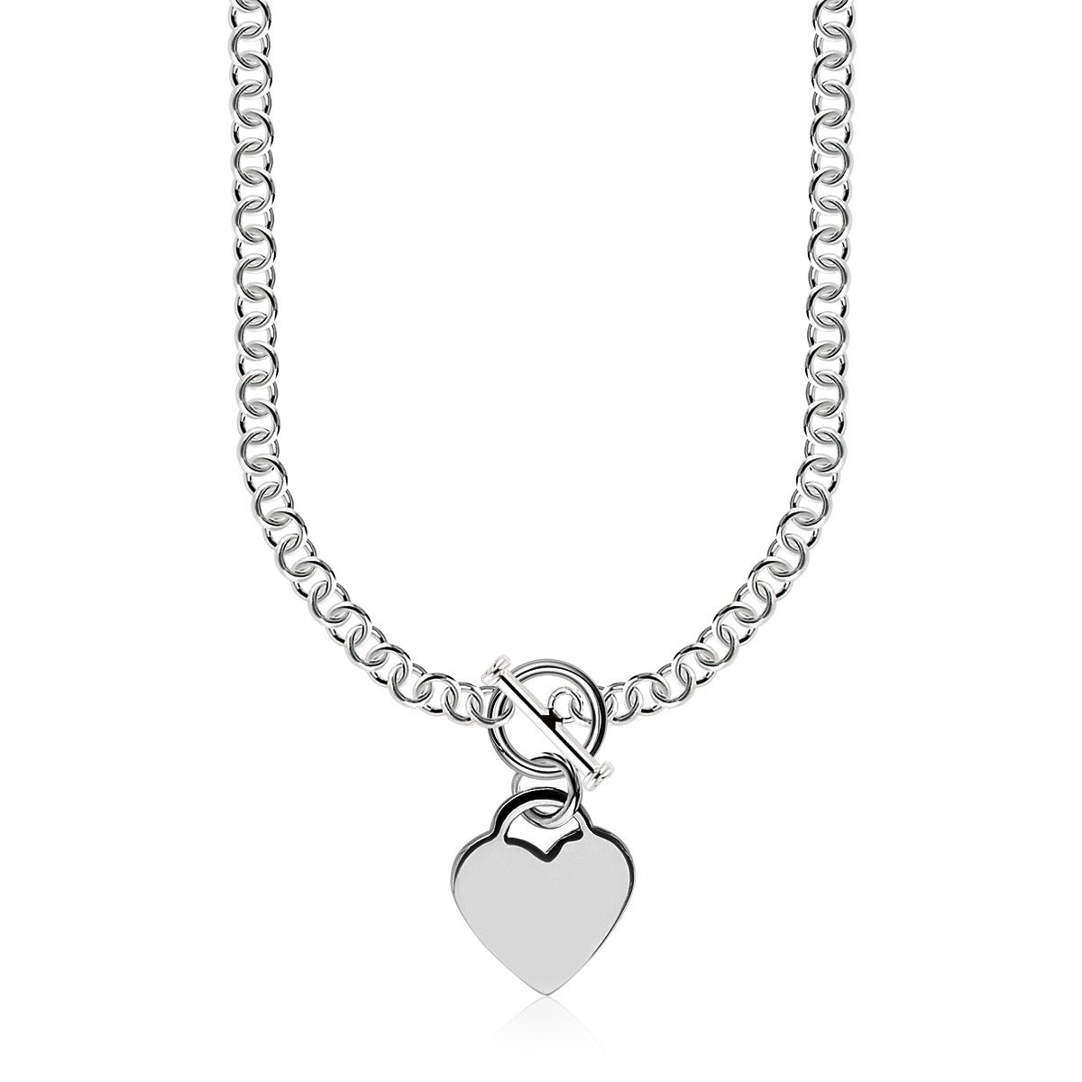 925 Sterling Silver Rhodium Plated Rolo Chain Necklace with a Heart Toggle Charm