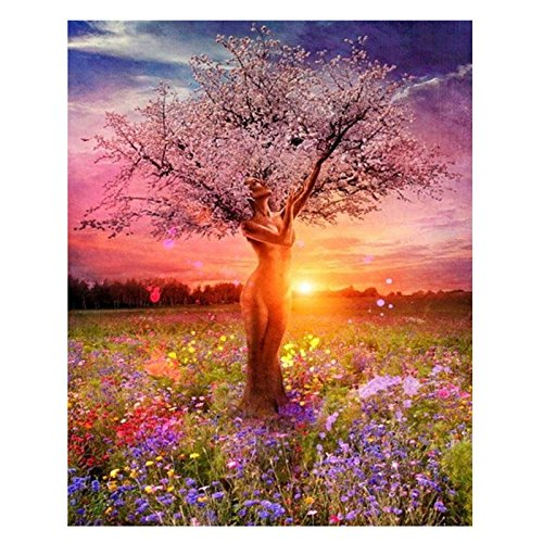 Thobu DIY Paint By Numbers Digital Oil Painting Canvas Artwork-Fairy Tree Home Decor 40x50cm/15.75x19.69