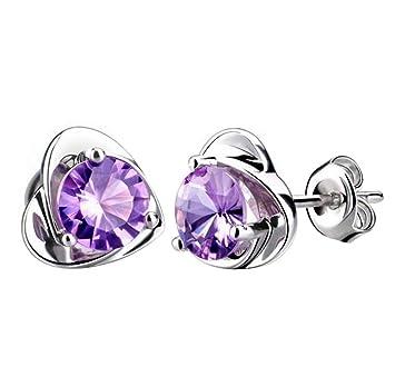 dad058167186 CAOLATOR Pendientes Plata Color en Forma de Corazón Pendientes Mujer de  Diamante Cristal Decoración del Partido Aretes para el Accesorios de  Joyería ...