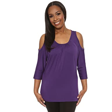 800827475ec2bf Dana Cold Shoulder Womans Top Shirred Neck detail Shoulder Cut Out Blouse  from MicroModal by Covered Perfectly at Amazon Women s Clothing store