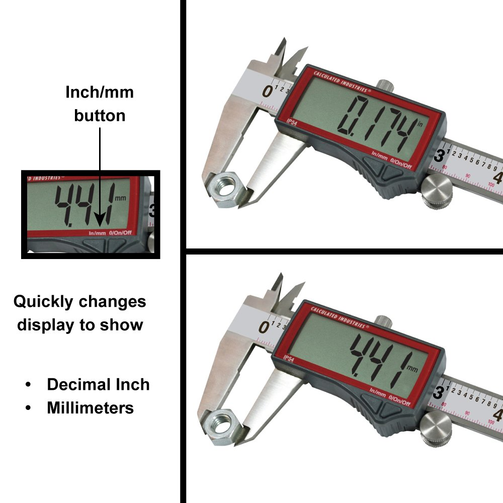 Calculated Industries 7418 AccuMASTER Electronic Digital Vernier Caliper | Metric/SAE Inch to Millimeter Conversion | Tool Measures 0-6 Inches/150mm | Stainless Steel | Largest Display Digits |IP54 by Calculated Industries (Image #2)
