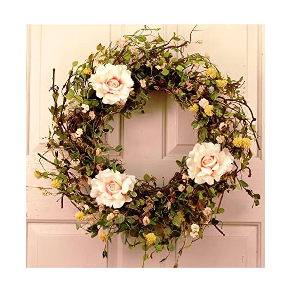 English Bud Spring Wreath 22 Inch -Handcrafted on a Grapevine Wreath Base- Display in Spring, Easter, and Summer