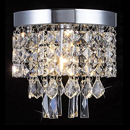 Floodoor Mini Crystal Chandelier Lighting, 1 Light Flush Mount Ceiling Light, W7.9 X H7.9 Modern Pendant Lamp Fixture Dining Room, Bedroom, Kitchen, Hallway, Bar, Bathroom, Silver