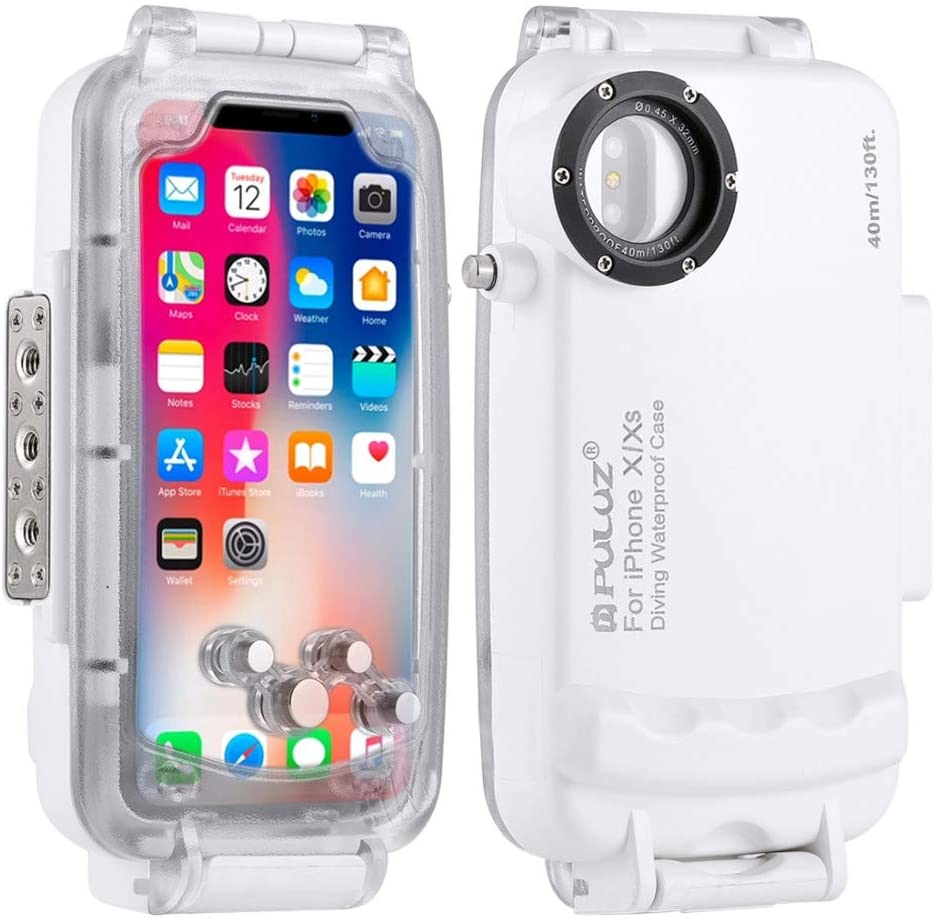 DishyKooker PU-LUZ for i-Phone XS//X//XSMAX//XR Underwater Housing 40m//130ft Diving Photo Video Phone Protective Case for Swimming Surfing Snorkeling i-PhoneXSmax White Electronic Products