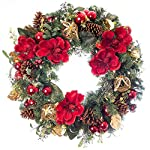 30-in-Artificial-Pre-Lit-LED-Decorated-Christmas-Wreath-Red-Magnolia-decorations-50-super-mini-LED-warm-clear-colored-lights-with-timer-and-battery-pack-for-indoor-and-outdoor-use