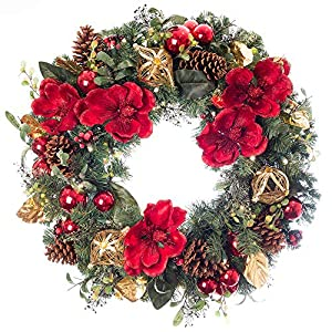 30 in. Artificial Pre Lit LED Decorated Christmas Wreath-Red Magnolia decorations- 50 super mini LED warm clear colored lights with timer and battery pack for indoor and outdoor use 7