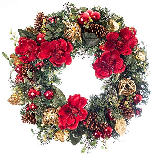 30 in. Artificial Pre Lit LED Decorated Christmas Wreath-Red Magnolia decorations- 50 super mini LED warm clear colored lights with timer and battery pack for indoor and outdoor use