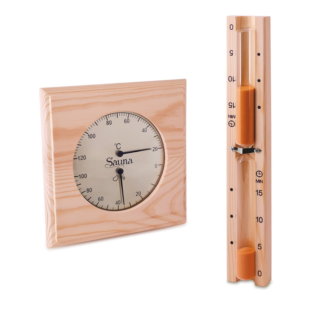 Sauna Set - Hygrometer Thermometer & Sanduhr Basic Klimamesser Meß gerä t Sawo