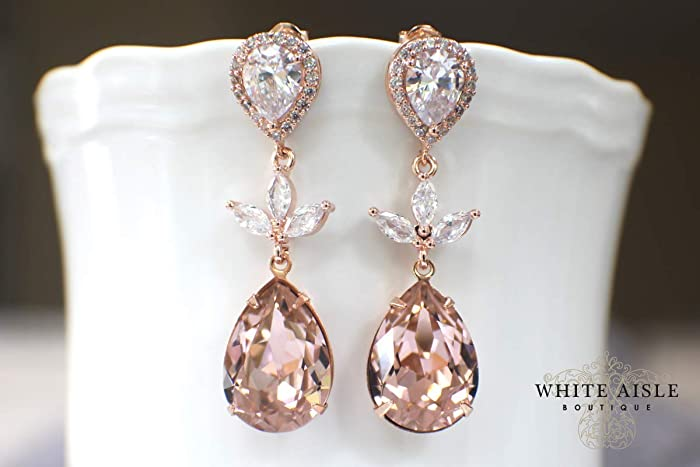 38257d9c59b20 Amazon.com: Custom Blush Pink Rose Gold Bridal Pendant Earrings ...