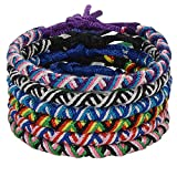 Jeka Handmade Woven Braided Friendship Bracelet - 6 Pcs Fashion Jewelry Set for Women Girls Cool Wrist Anklet Bracelets Retro Gift - Great Party Favors (Multiple Colors)
