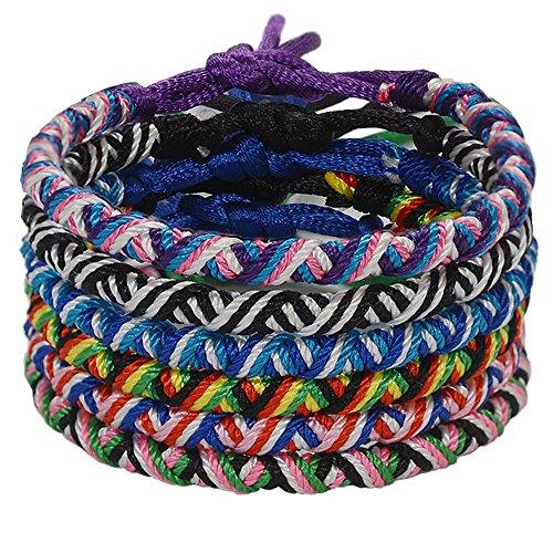 Handmade Friendship Braided Woven Bracelet-Jeka Cool 6Pcs Bulk for Women Men Wrist Ankle Fashion - Gifts Order Bulk