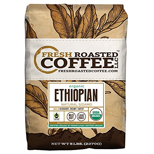 Integral Ethiopian Natural Sidamo Fair Trade Coffee, Whole Bean Bag, Fresh Roasted Coffee LLC. (5 LB.)