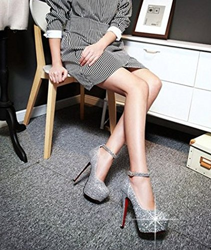 Sexy Heels MDRW Store Heels Silver Night Fine High Single Shoes 38 Shoes Waterproof Sequins Leisure Women'S Elegant 5Cm Shoes Lady Spring 13 Platform Single Work RxARTHwr