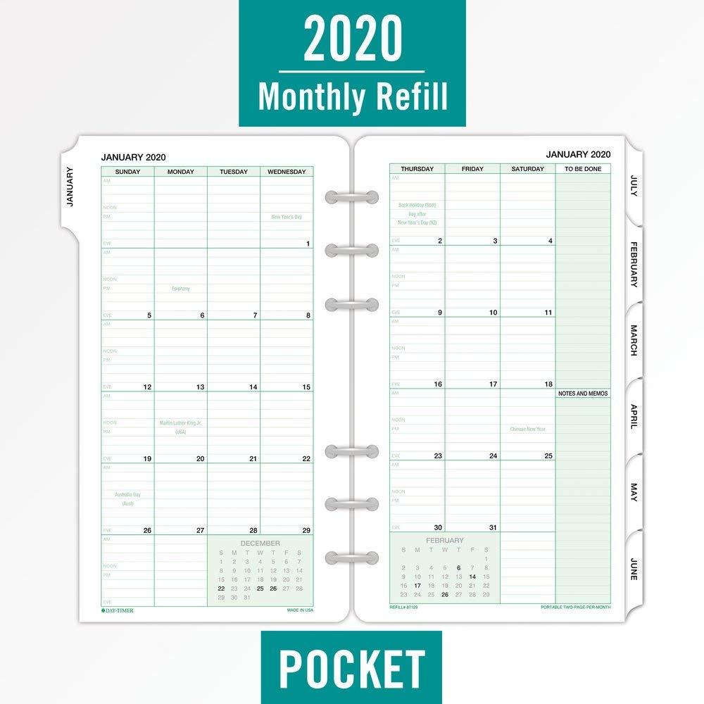 3 foglie ricarica mensile 87129 classico 9 cm x 16,5 cm due pagine al mese formato portatile Planner giornaliero 2020