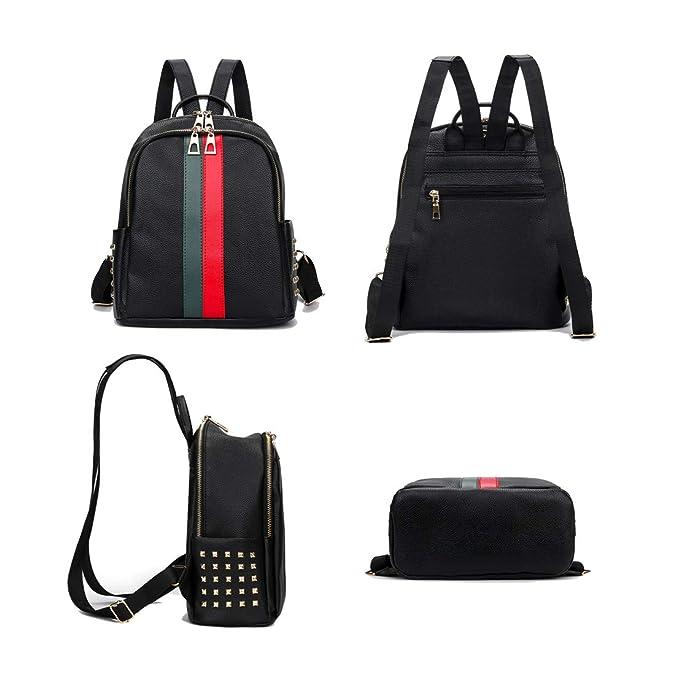 35b952bd644 Amazon.com  Leparvi Fashion PU Luxury Designer Small Women Backpack Bag  Ladies Teenager Tote Handbag Purse (Red-Green2)  Shoes