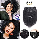 Afro Kinky Curly Clip ins Hair Extensions Human Hair,SHOWJARLLY 8Pcs/128g 8' Thick Full Head Curly Wave Double Weft #1B Natural Black