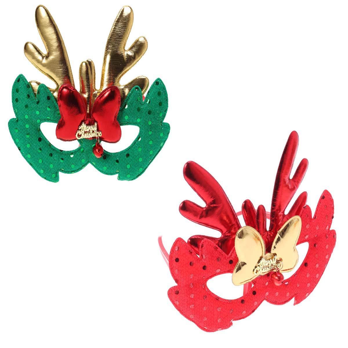 BESTOYARD Máscara de Disfraces de Navidad Elk Máscara de Tela Niños Adultos Cosplay Fiesta de Navidad 2 Piezas