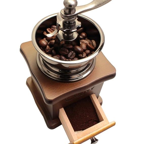 OULII Bean mano molinillo de café manual molinillo de especias hierbas Retro granos de café molinillo de café molido máquina grano de madera estilo Vintage ...