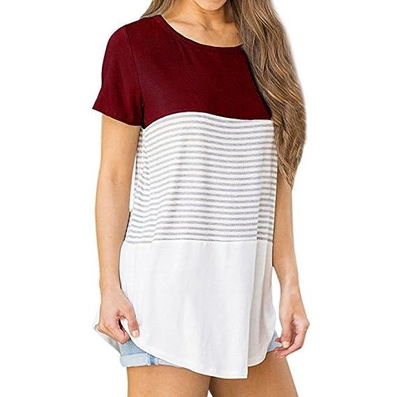 Camisetas Mujeres Señoras❤️️Lonshell Ropa de Verano de Mujer Manga Corta Cuello Redondo Triple Color Block Raya Camiseta Casual Blusa T-Shirt Tops ...