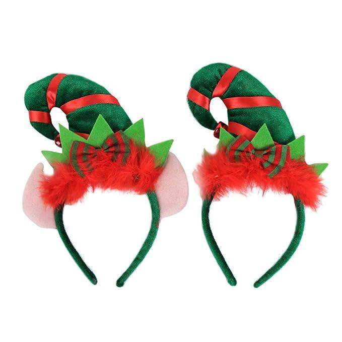 BESTOYARD 2 STÜCKE Weihnachten Elf Hut Stirnbänder mit Ohren Jingle ...