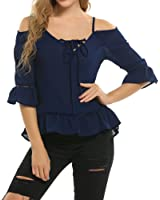 Locryz Women's Bell Sleeve Hollow Out Ruffle T Shirt Blouse Flare Sleeve Top