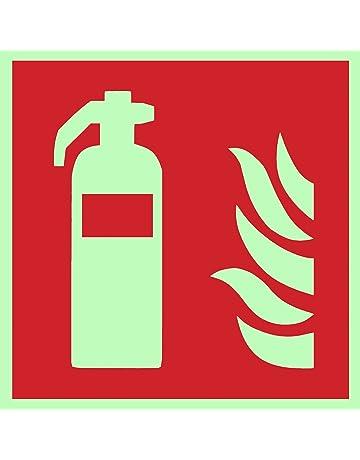 Símbolo de protección contra incendios extintor ISO Placa de plástico luminiscente y autoadhesiva 150 x 150