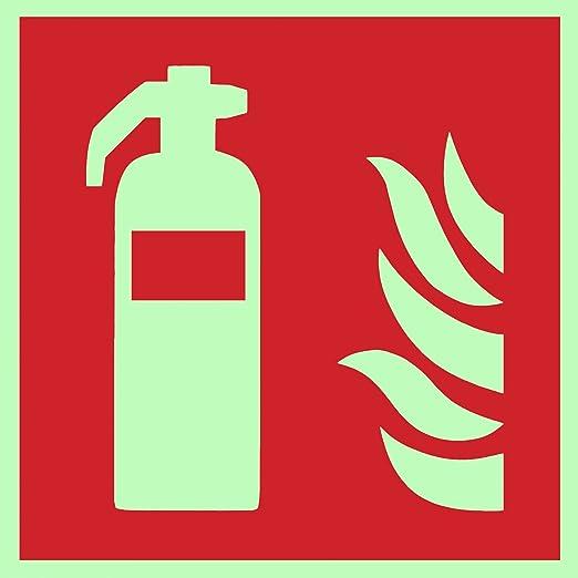 Símbolo de protección contra incendios extintor ISO Placa de plástico luminiscente y autoadhesiva 150 x 150 mm