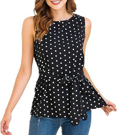 ZFQQ Camisa de chifón Dulce sin Mangas con Cuello Redondo y Estampado de Lunares para Mujer: Amazon.es: Ropa y accesorios