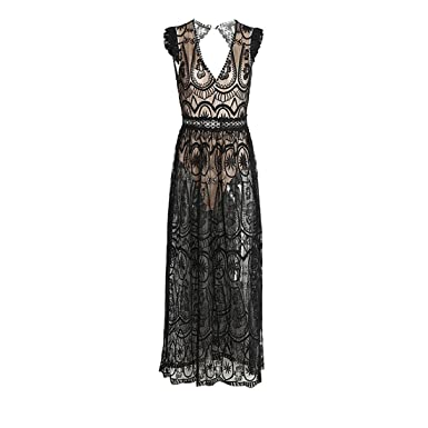 Amazon.com: Yanick Mark Hollow out long dress vestidos de fiesta Vintage backless ruffle summer dress women Sexy deep V transparent lace dress: Clothing