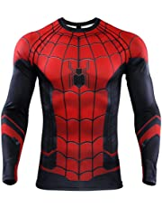 SPORTS BOY Maglietta da Uomo, Spiderman Collant I Vendicatori meraviglia Manica Lunga