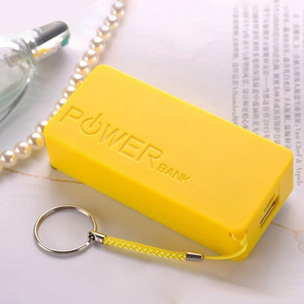 5600mAh 2X 18650 USB Power Bank Battery Charger Case DIY Box For iPhone Sumsang,22×42×86mm,Tuscom (Yellow)